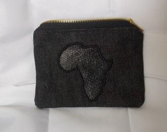 Denim Purse with applique detail - handmade
