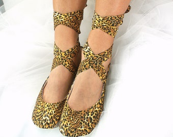Ballet Flats Shoes Animal Print Leopard Print Shoes Lace up Ballet Slippers Custom Comfortable Shoes for Brides