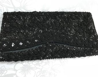 60s Black Beaded Sequin Clutch Envelope Purse Handbag
