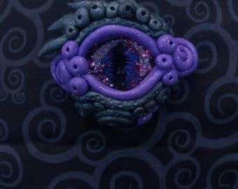 Green and Purple Dragon Eye OOAK clay pendant