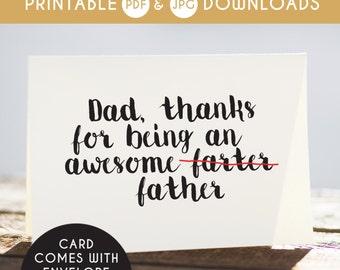 printable dad card, digital dad card, fathers day card, printable dad cards, funny card for dad, instant download