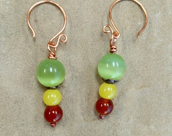 Summer to Autumn Glass Bead and Copper Earrings