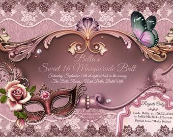 Masquerade Invitation Mardi Gras Party Quinceanera Party