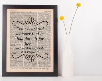 Her heart did whisper Dictionary Gift Art Print Jane Austen Pride & Prejudice