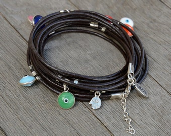 Handmade Sterling Silver Evil Eye Leather Long Wrap Bracelet - Adjustable with Extension