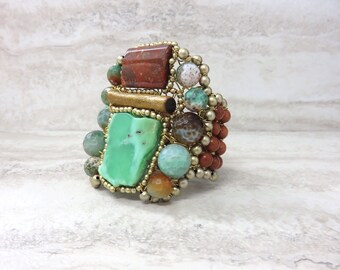 Large Tribal Cuff Bracelet with Unique Semi Precious Green Chrysoprase, Orange Coral & Agate by Sharona Nissan 4039B
