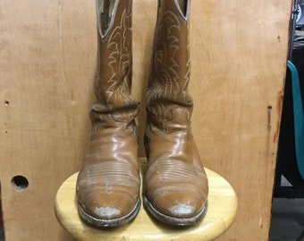 Women's Light Brown Leather Western Cowboy Boots