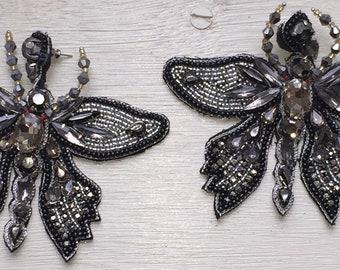 Hand beaded DRAGONFLY post earrings