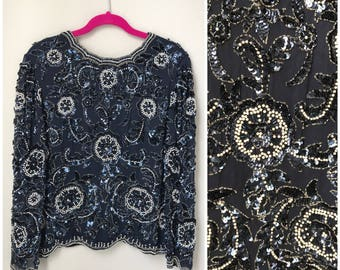 Exposed Back Beaded long sleeve vintage top in blue and white