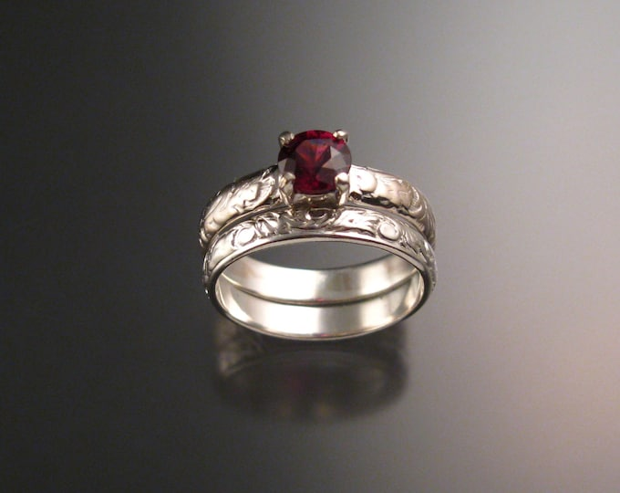 Garnet Natural Raspberry Rhodolite Garnet Wedding set 14k White Gold Ruby substitute ring made to order in your size