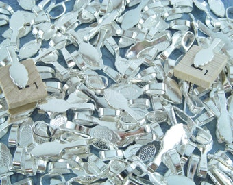 200 Large Leaf Bails - 26x8mm - Shiny Silver Color - Large Glue On Bails - Scrabble Glass Pendants Scallop Edge Tibetan Bail - 1 x 5/16 inch