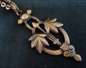 Art Nouveau Pendant Necklace... c.1980s... Bronze-Tone Metal