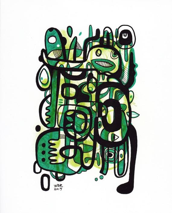 Greep - Original Mixed Media Illustration on Bristol - 8x10