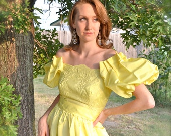 Buttercup Taffeta Ball Gown - Enchanting Baroque Brocade Embroidery Pleated Pouf Shoulder Yellow Southern Belle Wedding Princess ILGWU Dress