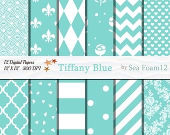 Tiffany Blue Digital Paper, Blue and White, Tiffany Blue Collection, Blue Scrapbooking, Tiffany card-making, Aqua Paper, Wedding Invitations