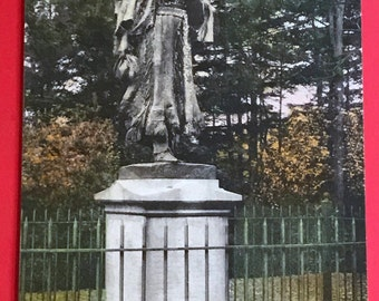 Vintage 1930s Hand Colored Postcard, Mary Jamison Monument. Letchworth State Park, Castile, NY, Beautiful Postcard Collectible