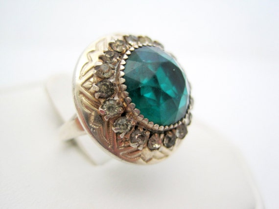 Sterling Silver Ring, Green Glass, Clear Rhinestones Surround, Adjustable Size 6  Ring