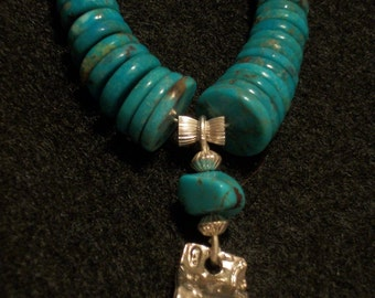 Descending Turquoise and Silver Necklace