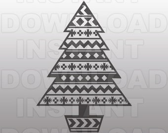 Christmas Tree SVG File,Aztec Pattern SVG -Commercial & Personal Use- svg for Cricut,svg for Silhouette,vector svg,svg cutting file,Vinyl