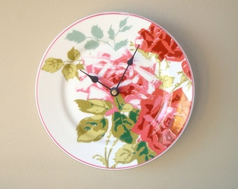 Pink Rose Wall Clock / Floral Wall Clock / Kitchen Clock / Unique Wall Clock / Unique Wall Decor / Kitchen Decor / Mother's Day / 1611