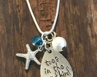 TOES in the SAND Kind of GIRL -Pendant Necklace