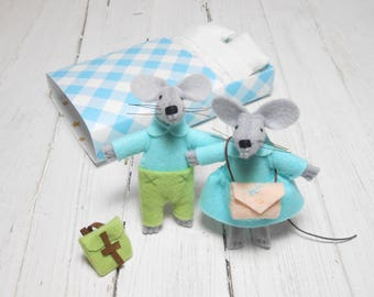 Mice family mouse in a matchbox wedding cake topper felted mouse stuffed animals felt animals hand made doll miniature mouse felt turquoise