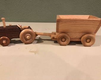 Handcrafted Farm Tractor and Wagon