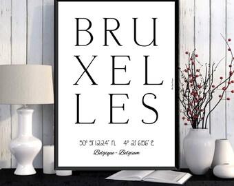Bruxelles Poster, Bruxelles print, Wall Art decor, Bruxelles city print, City poster, Bruxelles printable, Typography print