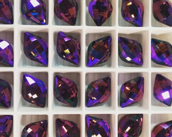 Pair Swarovski Crystal Lemon Fancy Stone 4230 Amethyst Glacier Rare Custom Coated 14x9 Small Ultra Faceted Chessboard Cut Purple Burgundy