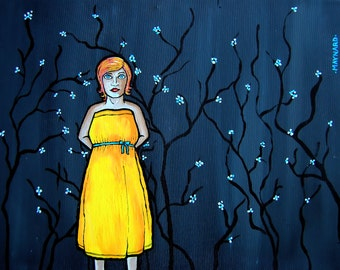Standing Amongst the Cherry Blossoms (Original Painting). Female, woman, girl, standing, flowers, portrait, acrylic on canvas, yellow dress