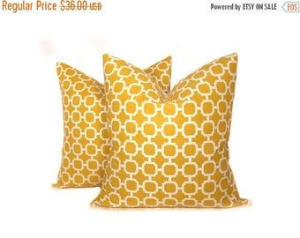 15% Off Sale Yellow Pillow Decorative Throw Pillows 20 x 20 Pillow Cover Set of TWO Outdoor Pillow Mustard Yellow Pillow Printed fabric both