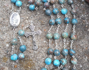 Sterling Silver Blue Flower Fire Agate Rosary - handmade -Free Shipping- On Sale