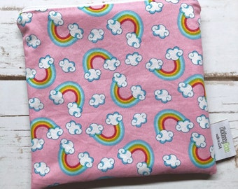 Reusable Sandwich Bag ~ Gifts Under 10 ~ Reusable Lunch Bag ~ Eco Friendly ~ Water Resistant ~ Zipper Pouch in Pink Rainbows