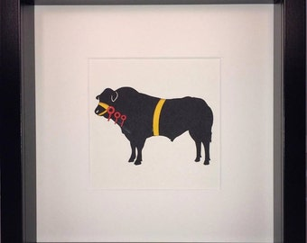 Prize Cattle Bull Bespoke Framed Paper Cut-Out Silhouette * Custom Options Available