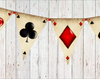 Playing Card Suits Bunting & Ribbon for Wonderland or Poker Parties - 12 flags