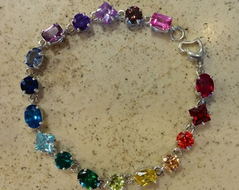 Rainbow Tennis Bracelet - Last Chance!  Shop Closing on July 16!