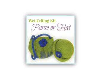 Wet Felting Kit, Felted Hat or Purse Kit for Beginners & Children, Learn to Wet Felt, Waldorf Homeschool Craft Supply, Felting Tutorial Set