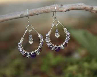 Silver N Amethyst Earrings, Silver Dangle Earrings, Amethyst Earrings, Silver Earrings
