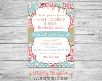 Printable Baby Shower Invitation - Shabby Chic Baby Girl Vintage Rose Tickled Pink Invite