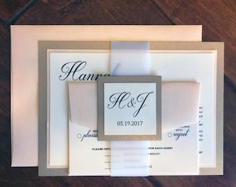 HANNAH Pink and Gold Wedding Invitation, Coral & Champagnium Wedding Invitation, Elegant Wedding Invitation, Classic Invitation