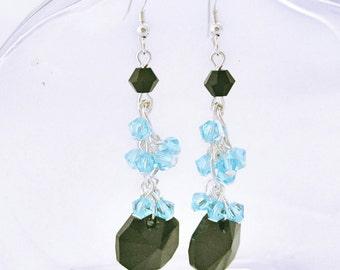 Blue and black crystal earrings