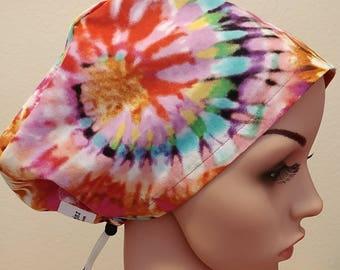 Women's Surgical Cap, Scrub Hat, Chemo Cap, Tie Dye