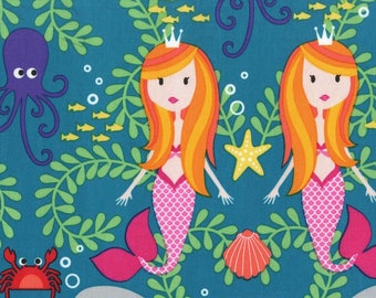 Lagoon Siren Sisters 100% Cotton from Michael Miller Fabric's Mer-Mates Collection