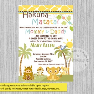 Lion king baby shower etsy printed or digital baby simba lion king baby shower invitations simba party supplies simba filmwisefo Choice Image