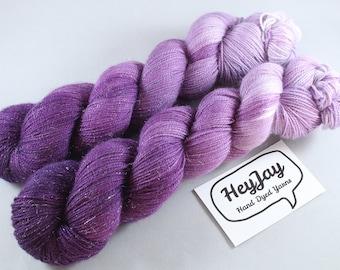 Hand Dyed Sparkle Sock Yarn - Blackcurrant Smoosh
