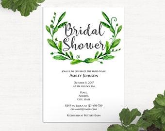 Summer bridal shower invitation template Garden wedding shower invitation printable Greenery bridal shower invites Green wedding 1W72