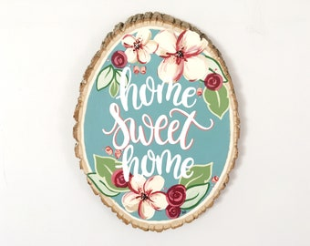 Home Sweet Home Small Wood Sign: Rustic Home Decor, New Home Gift, Christmas Gift for Her, Dorm Decor for Girls, Blue Wood Sign, Quote Sign