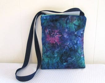 Sling Purse Marble Tie Dye Fabric Zipper Closure with Two Pockets Blue Purple Sling Bag for Women Teens Travel CrossBody Bag