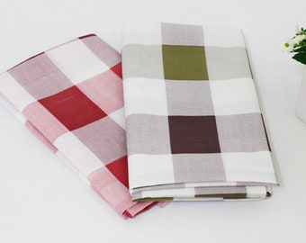 Large checked Cotton Blend Fabric BY THE YARD / Olive green / red wine / check / Polycotton / Ykfabrics JCB81*