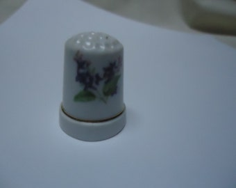 Vintage Thimble with Purple Flowers, collectable